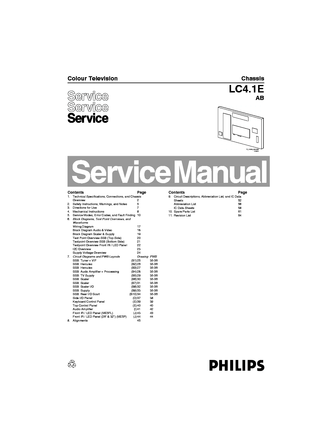 PHILIPS 15PF4110 CHASSIS LC4.1E AB SM Service Manual