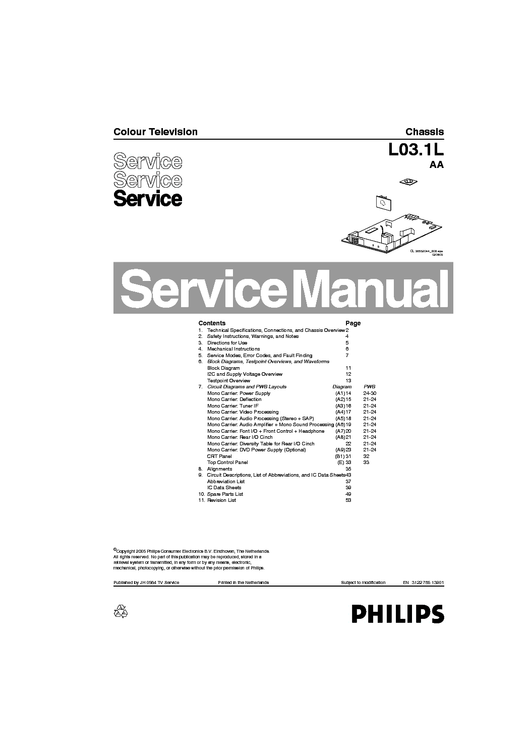 PHILIPS CHASSIS Q551.1E LA Service Manual free download