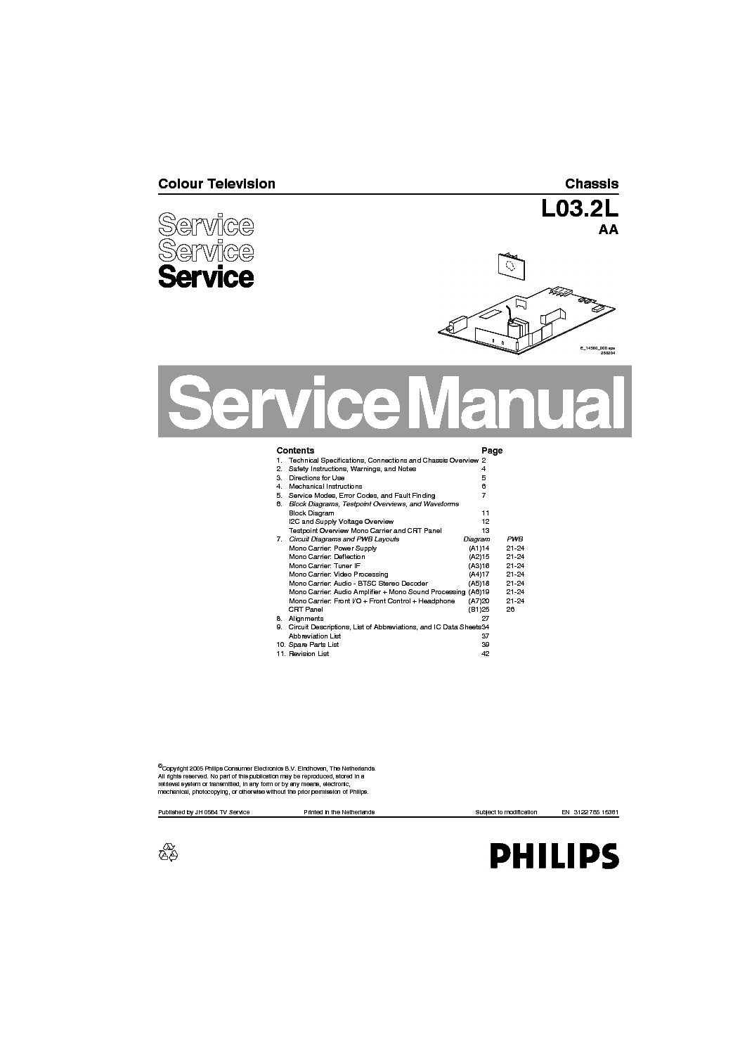 PHILIPS 21PT3205 55-CH.L03.2L-AA Service Manual download