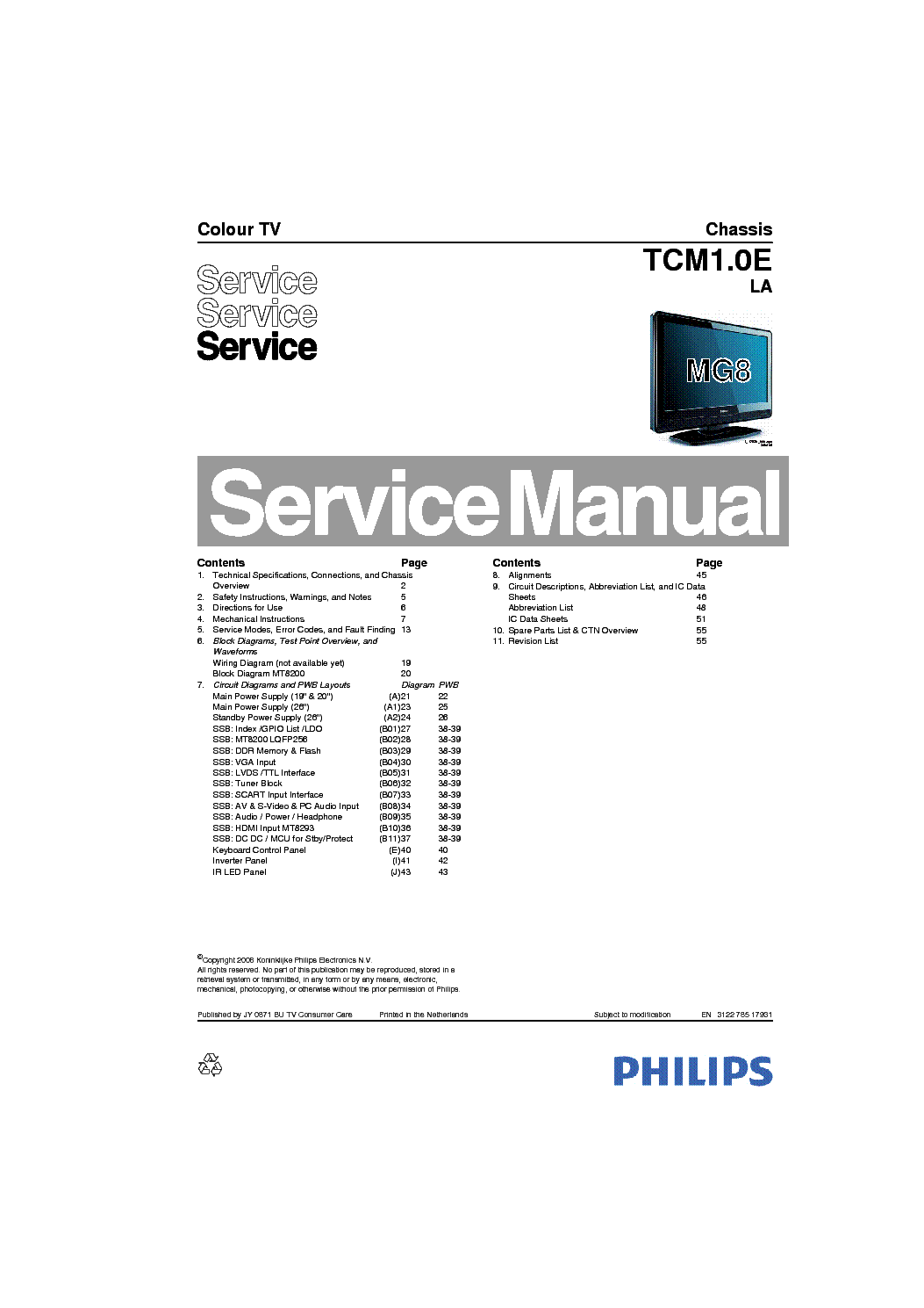 PHILIPS 22PFL3403-60 CHASSIS TCM1.0E-LA Service Manual
