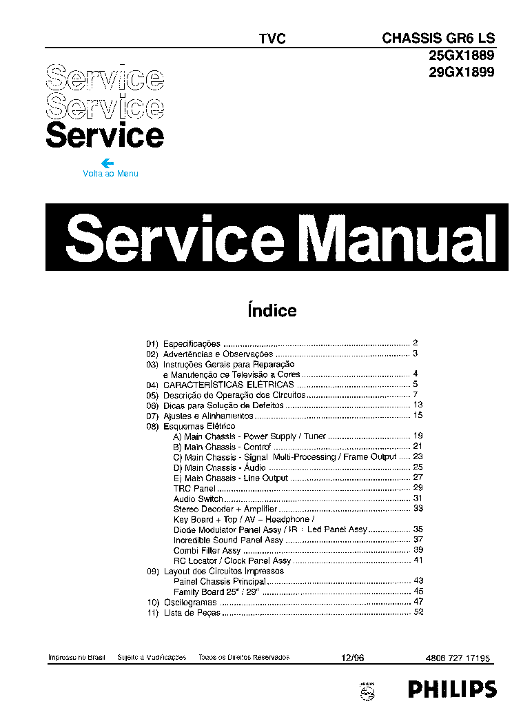PHILIPS 25GX1889 29GX1899 CHASSIS GR6-LS SM Service Manual
