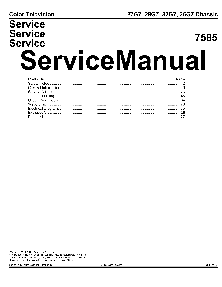 PHILIPS 27G7 29G7 32G7 36G7 7585 CHASSIS SM Service Manual