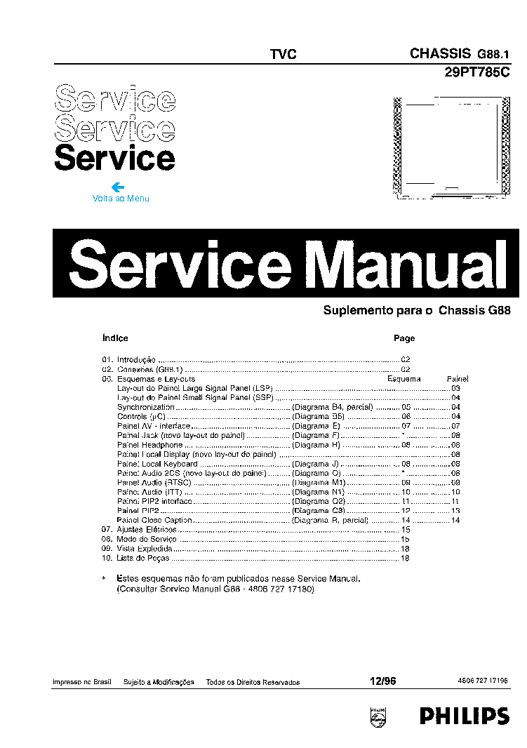 PHILIPS 29PT-785C CH G88.1 Service Manual download