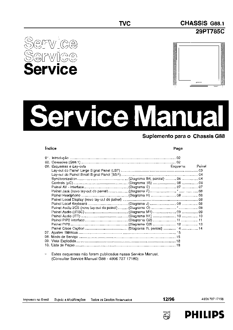 PHILIPS 29PT785C-CHASSIS G88-1 Service Manual download
