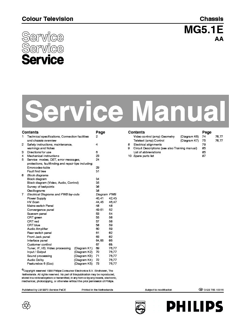 PHILIPS CHASSIS L01.1U-AC 7638 Service Manual download