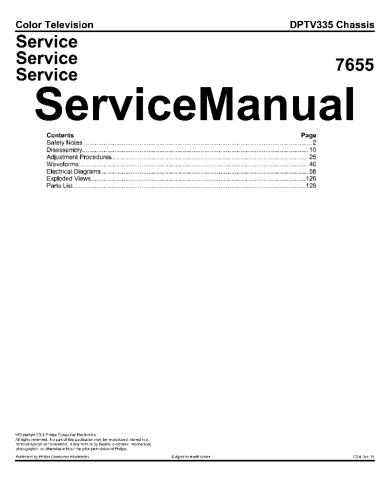 PHILIPS 7655 DPTV335 CHASSIS SM Service Manual download