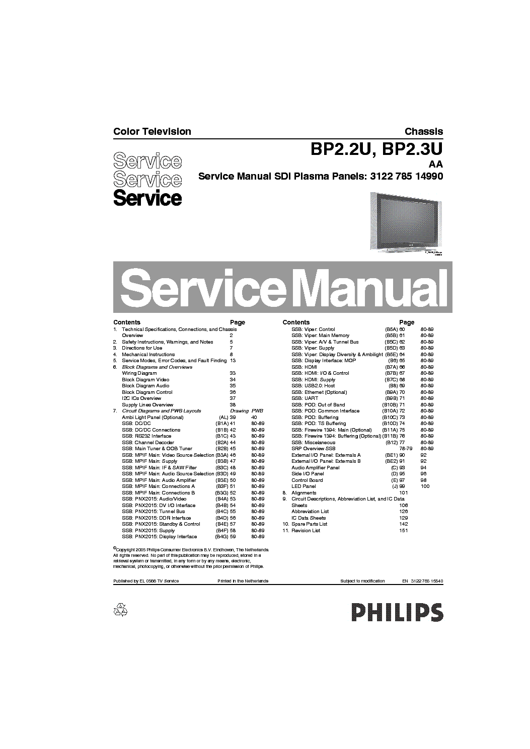 PHILIPS BP2.2UAA CHASSIS PLASMA TV SM Service Manual