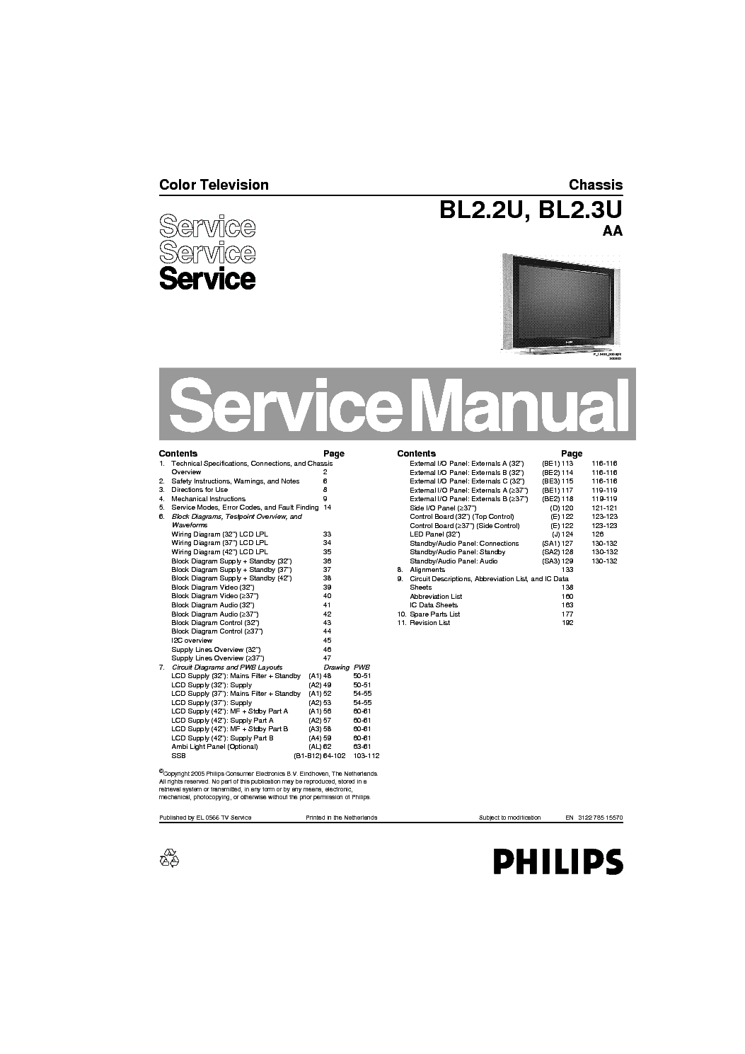 PHILIPS CHASSIS Q552.1E-LA Service Manual free download