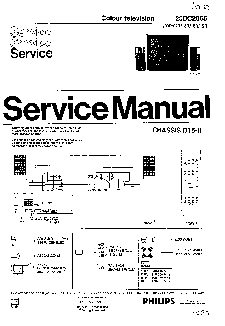 PHILIPS CHASSIS D162 Service Manual download, schematics