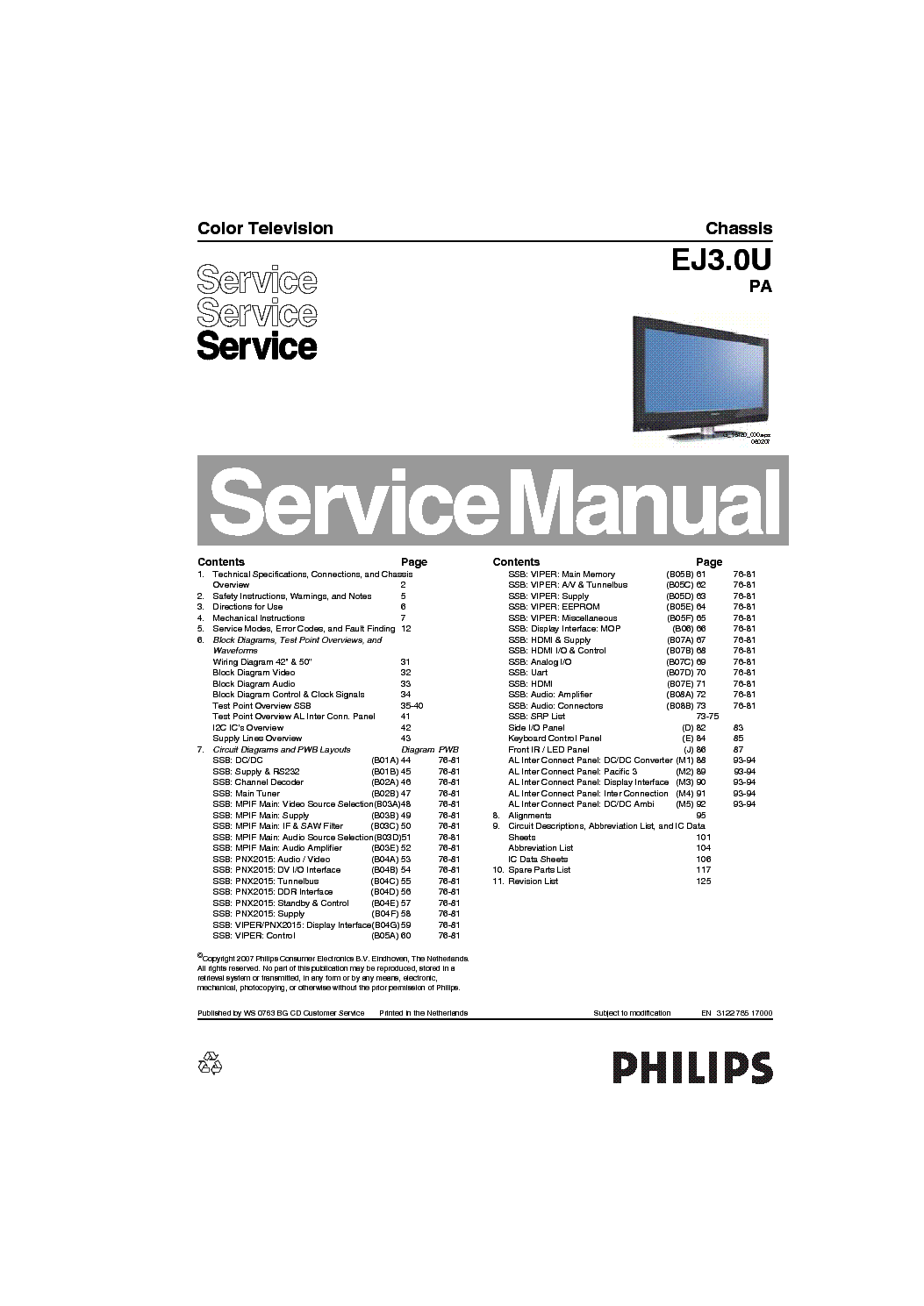 PHILIPS CHASSIS EJ3.0U-PA SM Service Manual download