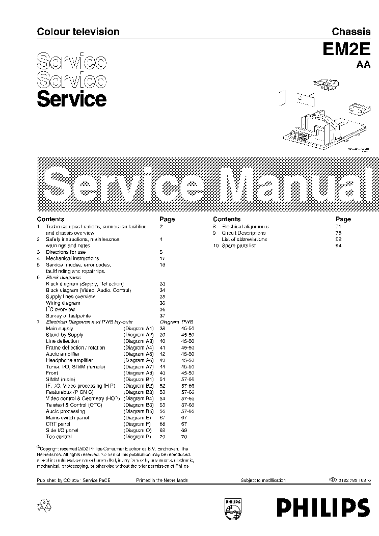 PHILIPS CHASSIS EM1A-NTSC Service Manual download