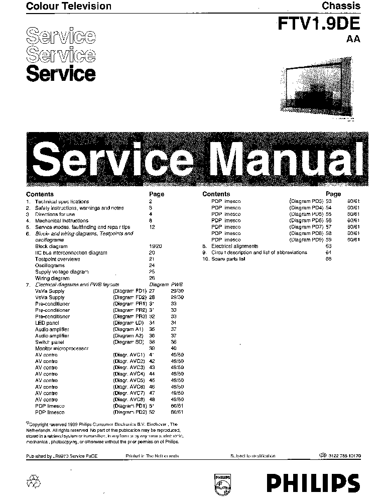 PHILIPS CHASSIS FTV1.9DE Service Manual download