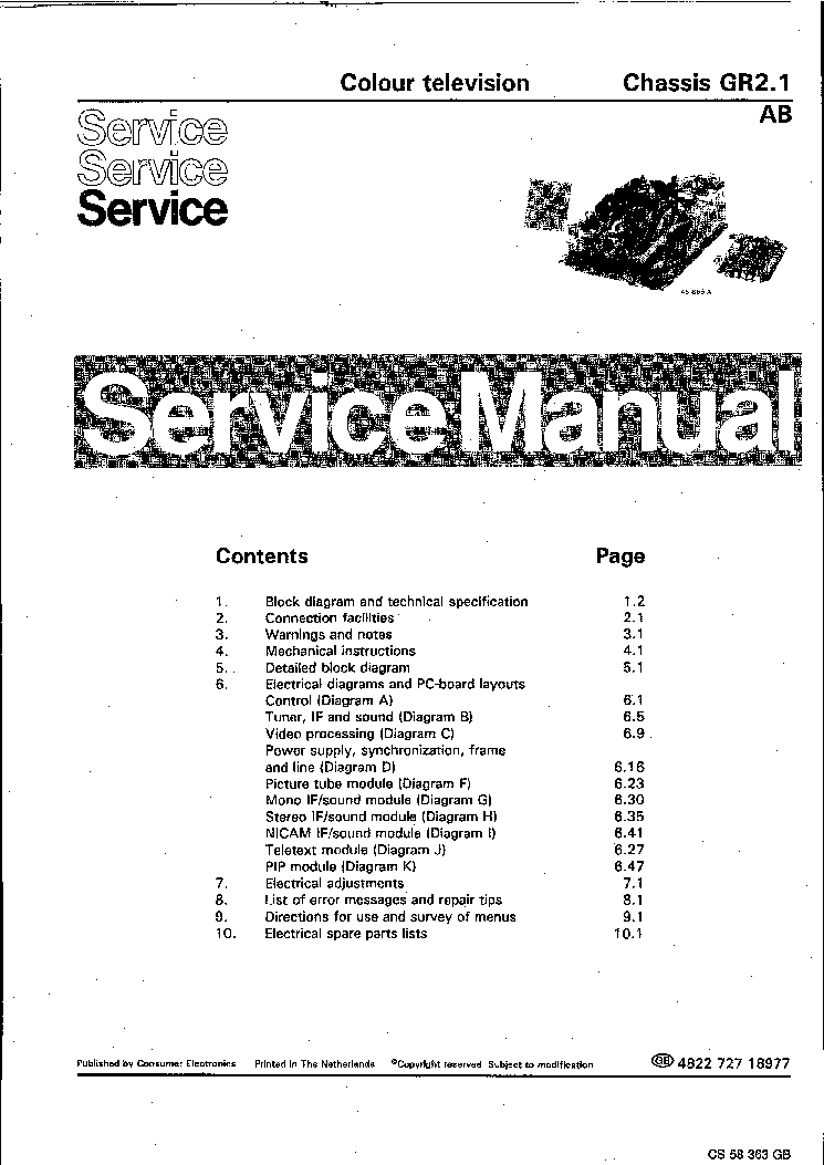 PHILIPS CHASSIS GR-2.1-AB Service Manual download