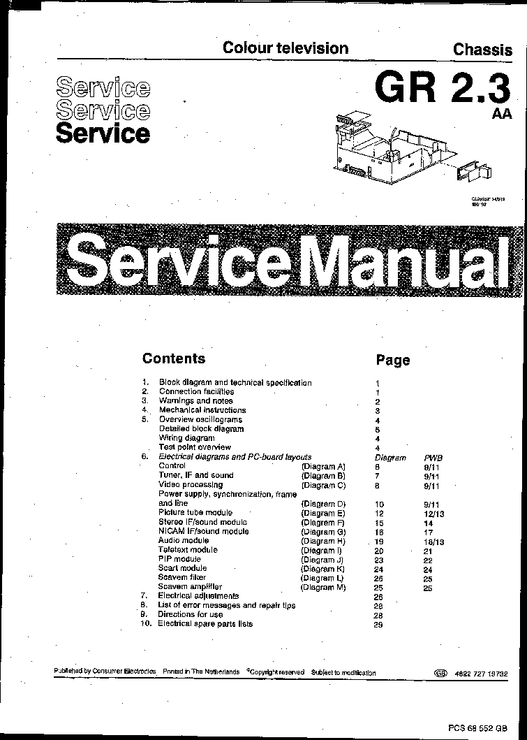 PHILIPS CHASSIS GR2.3-AA SM Service Manual download