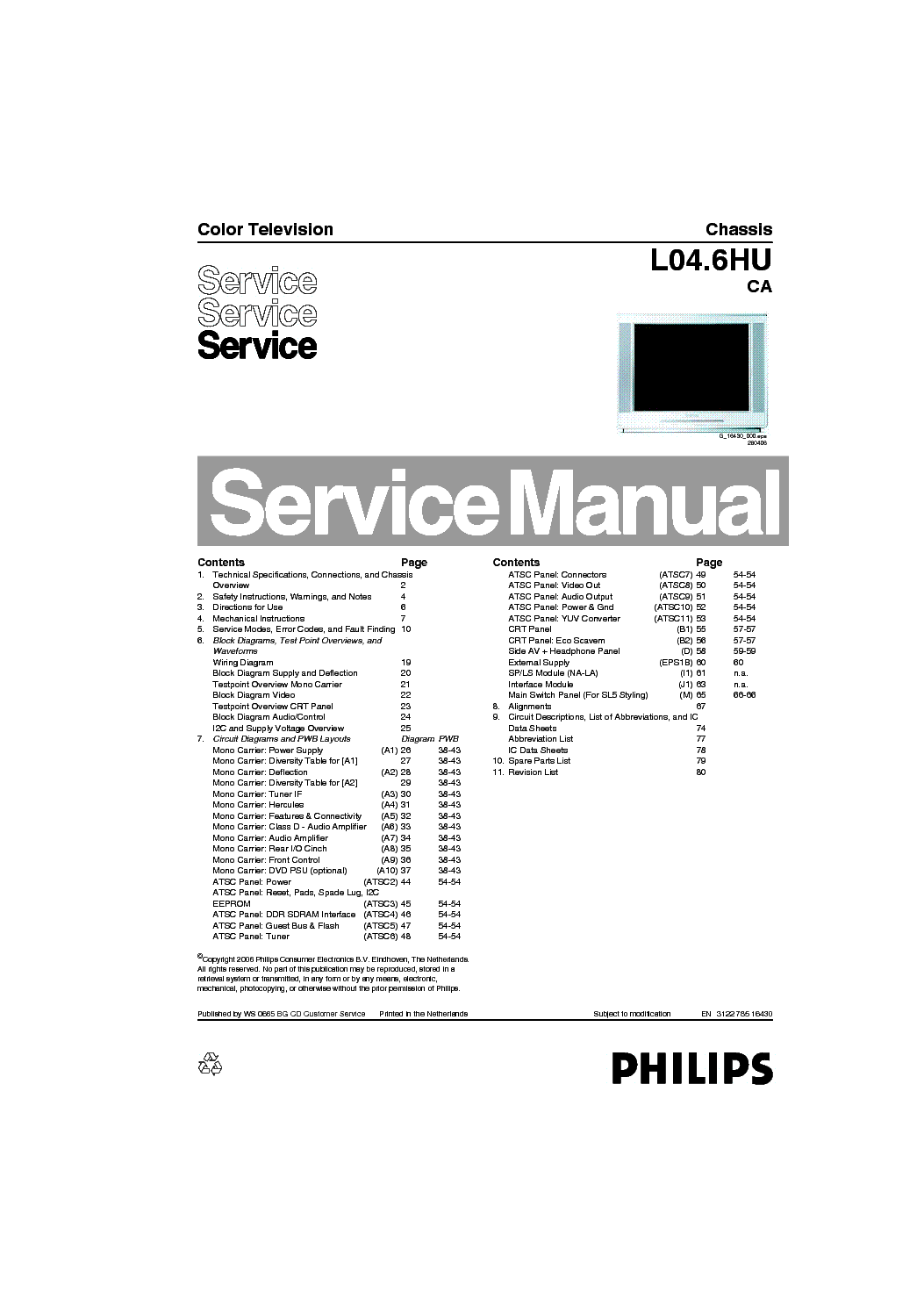 PHILIPS CHASSIS L04.6HU-CA Service Manual free download