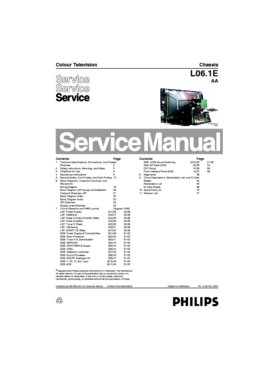 PHILIPS CHASSIS L06.1E 29PT9521-12 Service Manual download