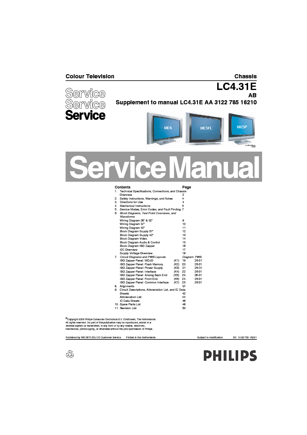 PHILIPS CHASSIS LC4.31E-AB Service Manual download