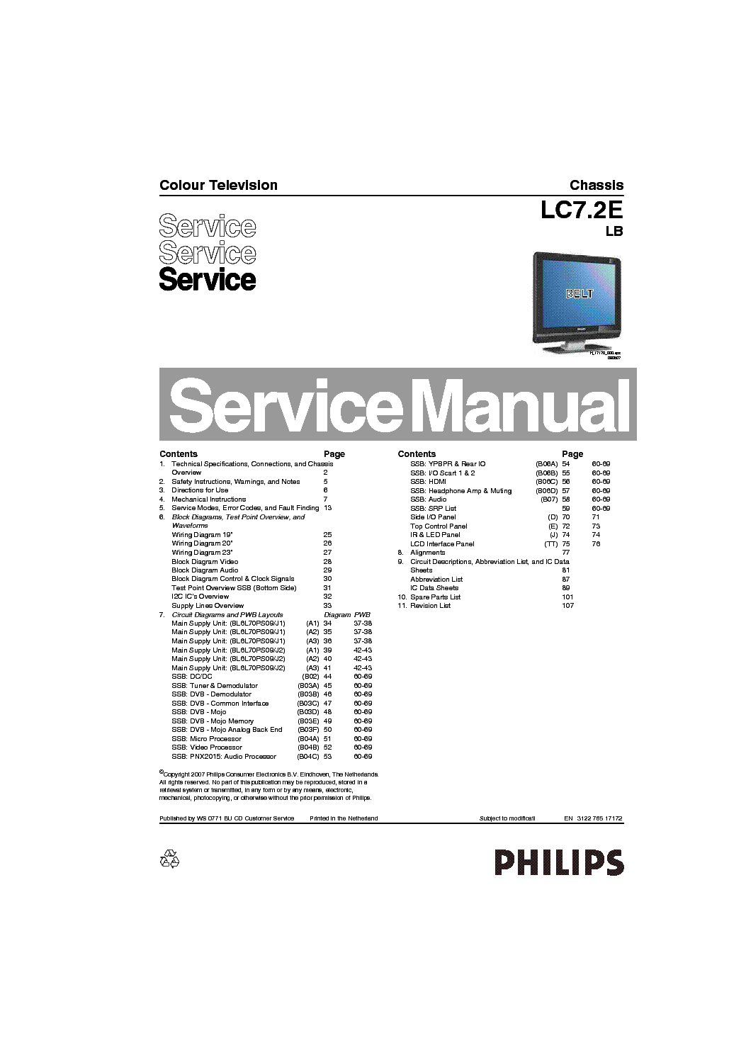 PHILIPS CHASSIS LC7.2E-LB SM Service Manual download