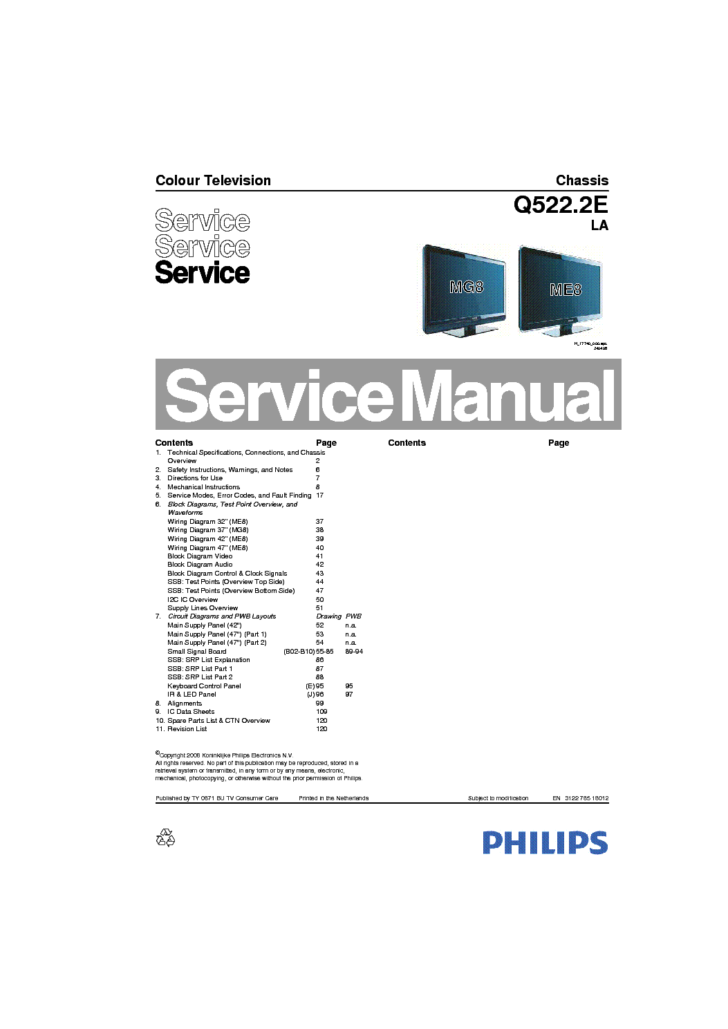 PHILIPS CHASSIS Q522 2E LA Service Manual download