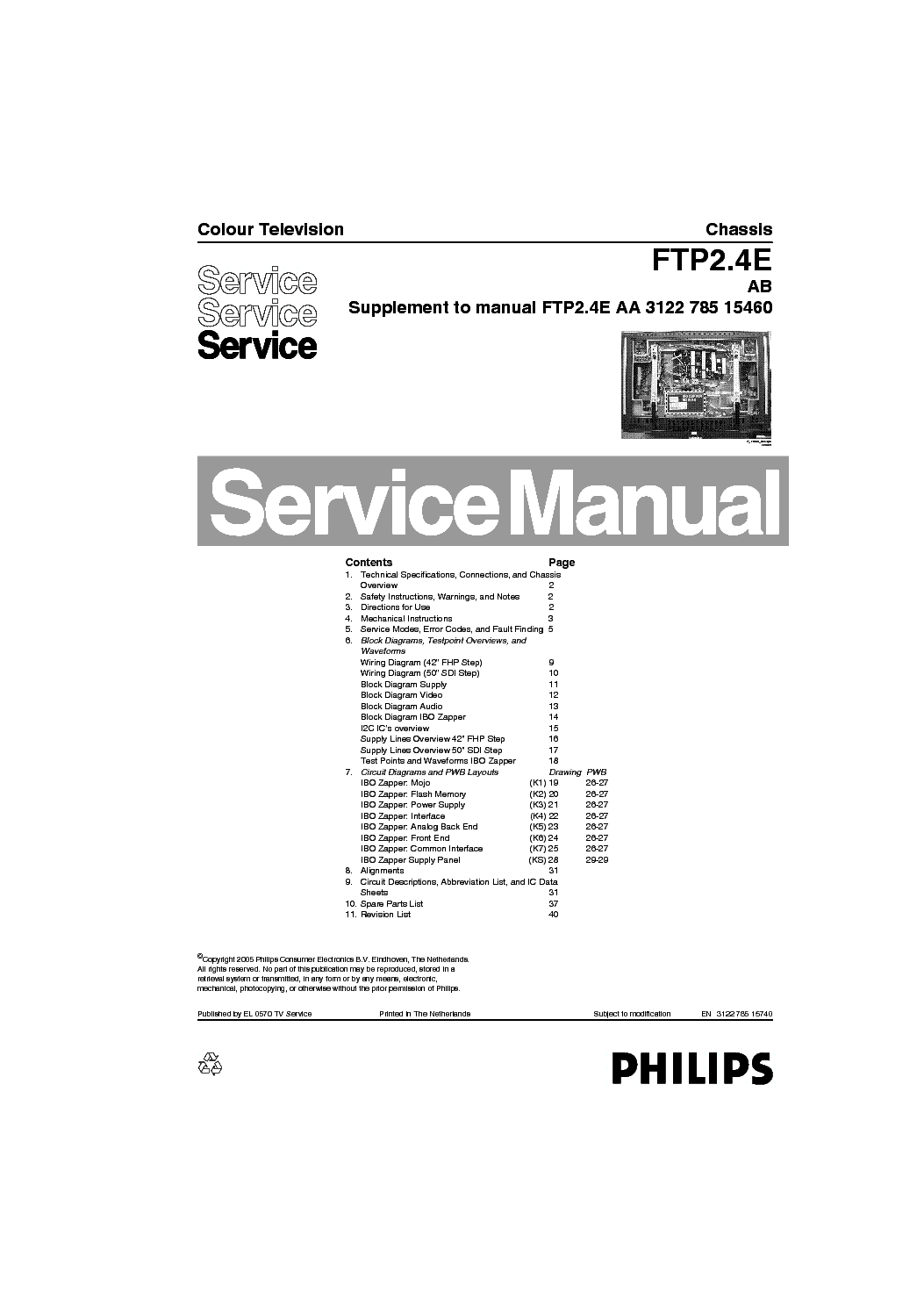 Philips Ftp2 4eab Pdp Service Manual Download