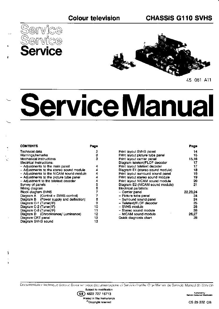 PHILIPS G-110-SVHS Service Manual download, schematics