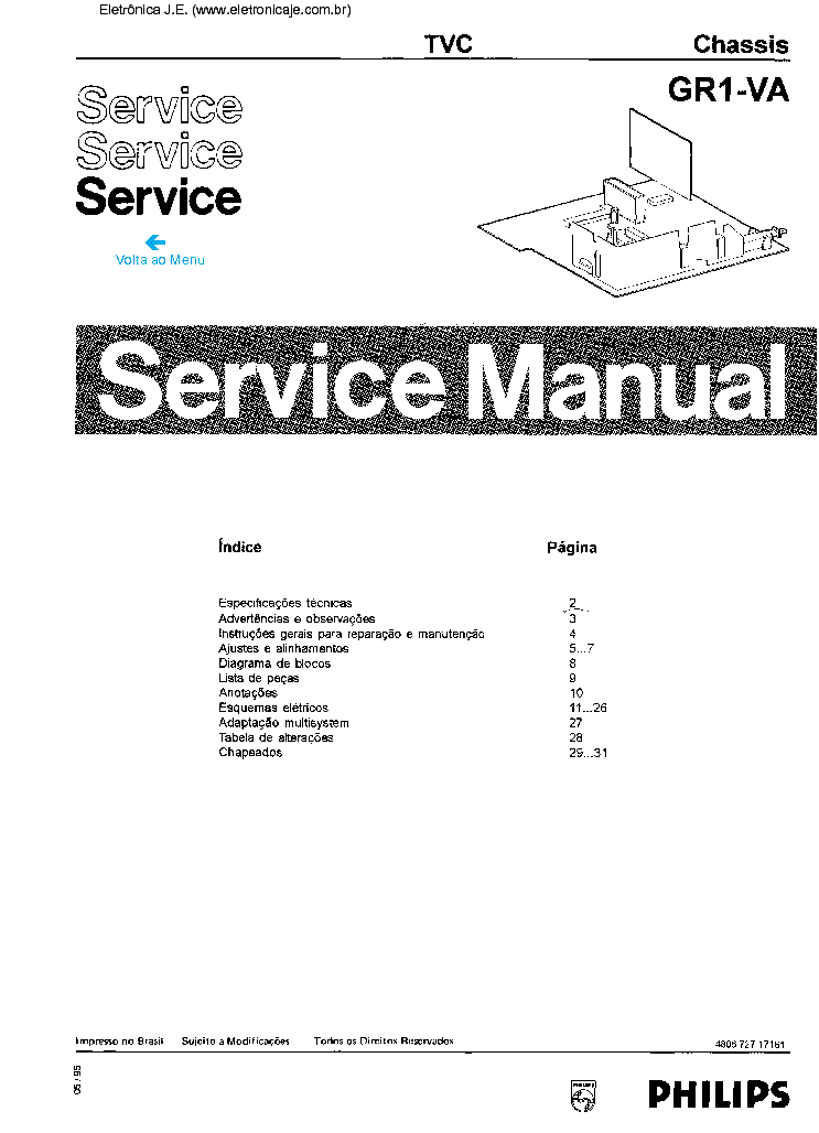 PHILIPS CH.QFU1.1E LA Service Manual download, schematics