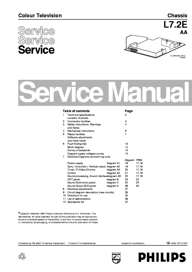 PHILIPS TV 25PT4501 MD-1.1E-AA CHASSIS Service Manual free