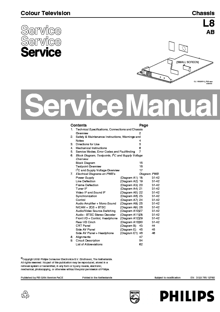 PHILIPS LC7.2E-LA Service Manual download, schematics