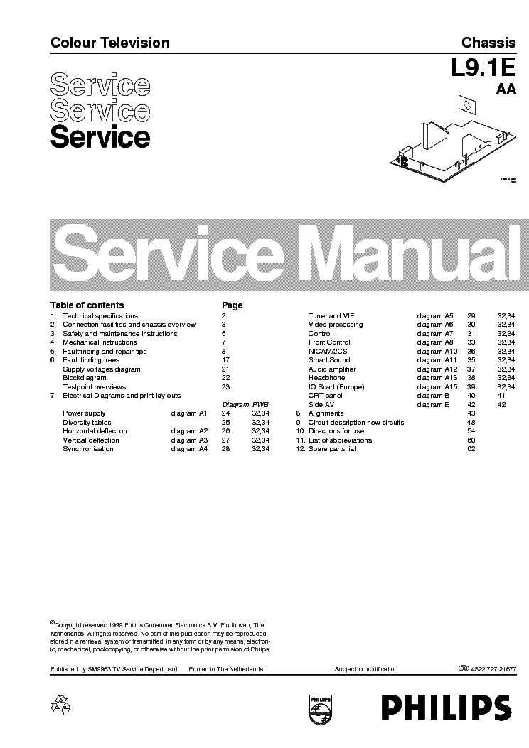 PHILIPS L9.1E AA 482272721677 A4 EN Service Manual