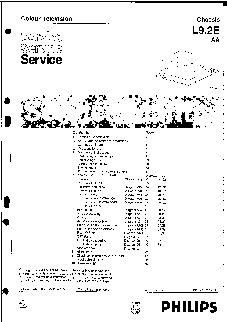 PHILIPS TV CHASSIS AA5-AB Service Manual download