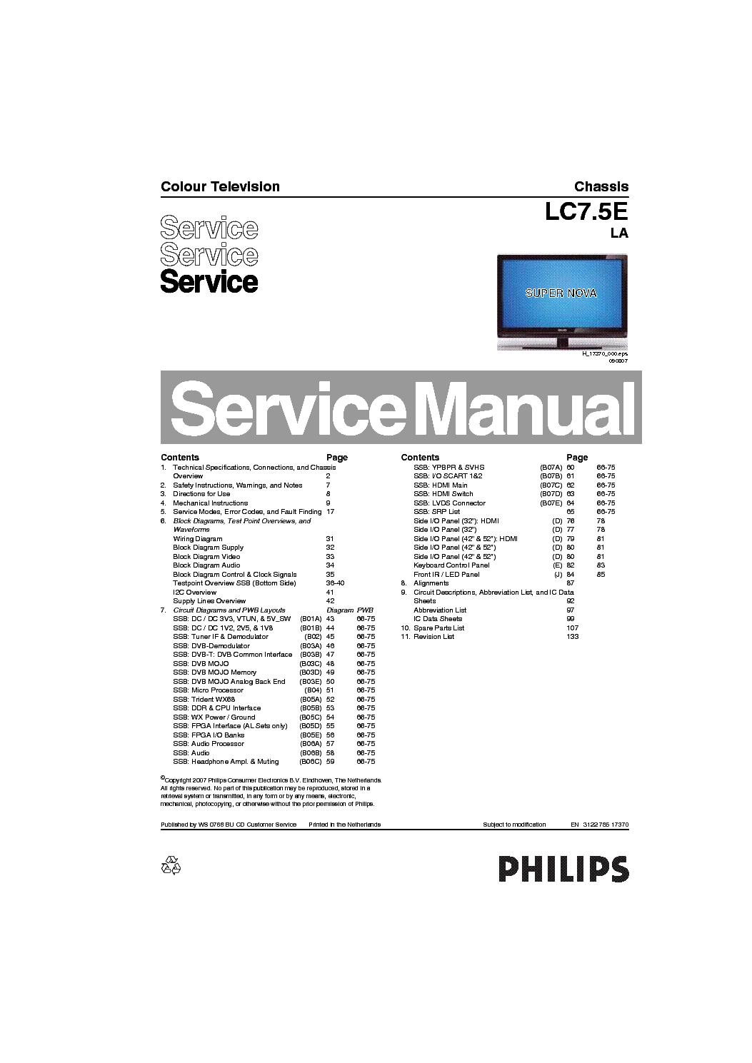PHILIPS LC7.5ELA 312278517370 Service Manual download