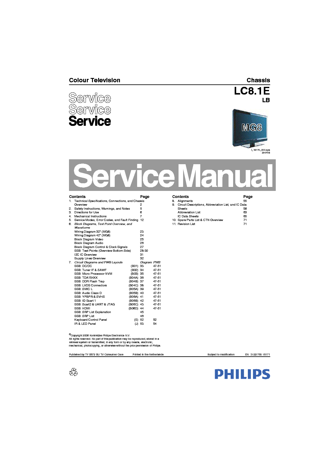 PHILIPS LC8.1ELB Service Manual download, schematics