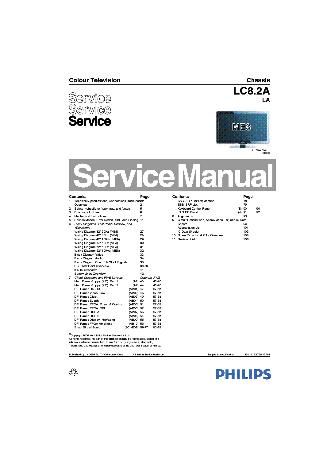 PHILIPS LC8.2A LA CHASSIS LCD TV SM Service Manual