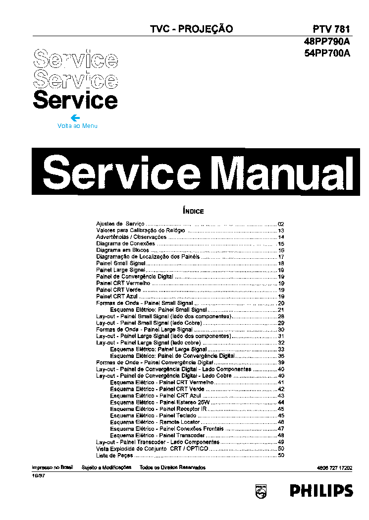 PHILIPS PTV781-48PP790A 54PP700A Service Manual download