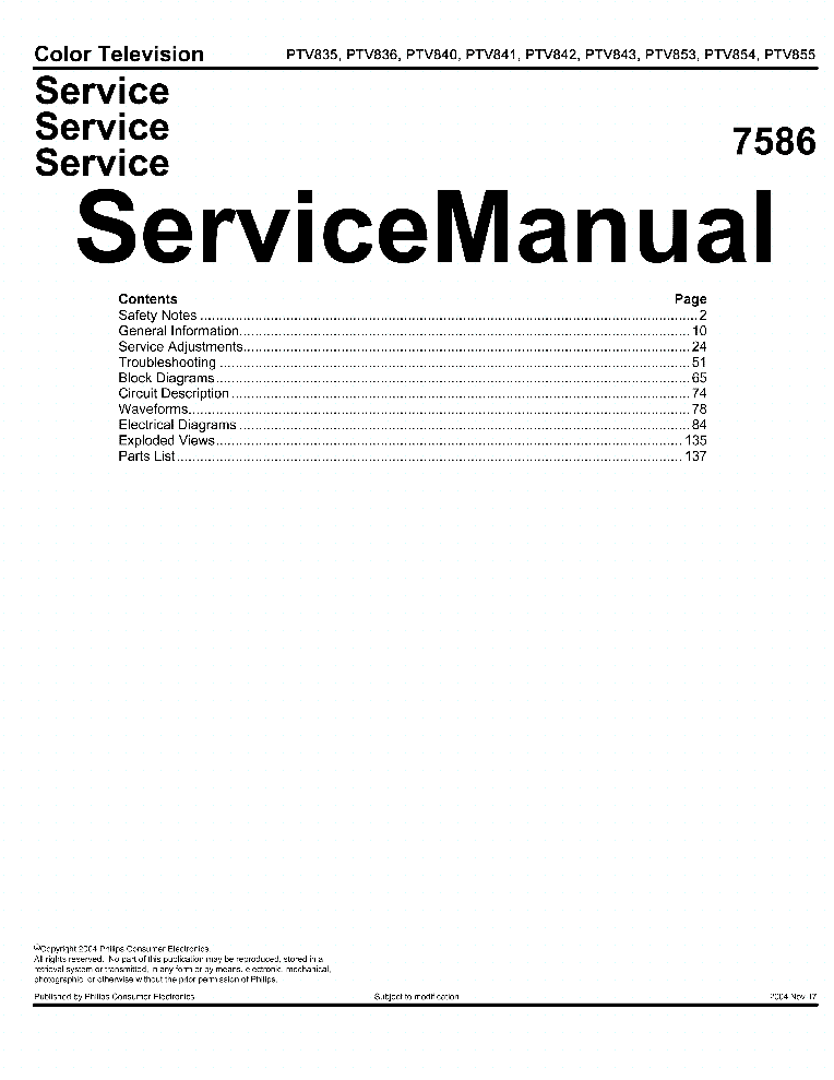 PHILIPS PTV835 PTV836 PTV840 PTV843 Service Manual