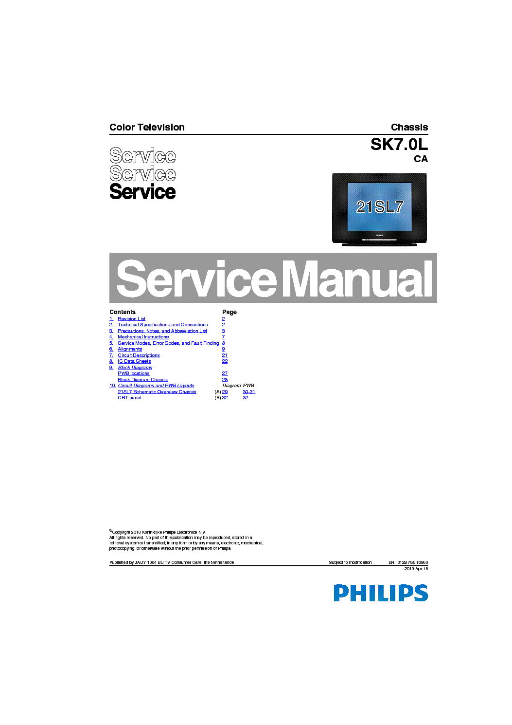 PHILIPS SK7.0L CA CHASSIS TV SM Service Manual download