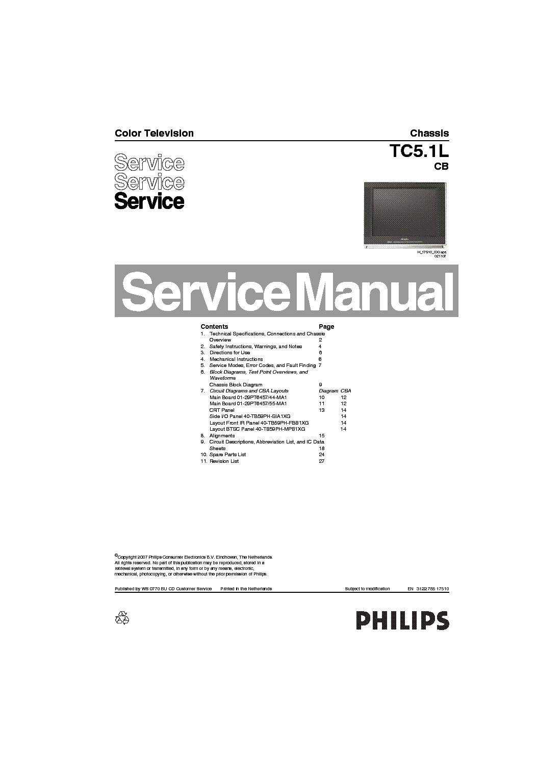 PHILIPS CH L01.2A AB Service Manual free download