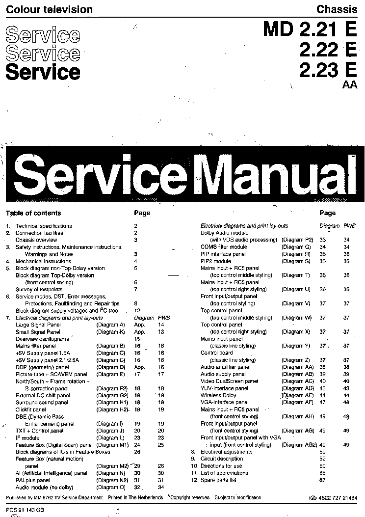 PHILIPS TV MD-2.21E AA-2.22E AA-2.23E AA Service Manual