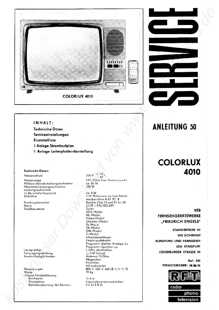 RFT COLORLUX 4010 1984 SM Service Manual download