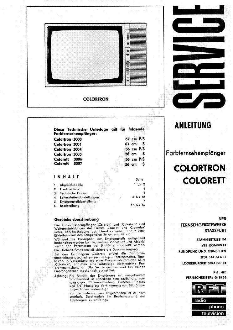 RFT COLORTRON 4000 4100 SCH Service Manual download