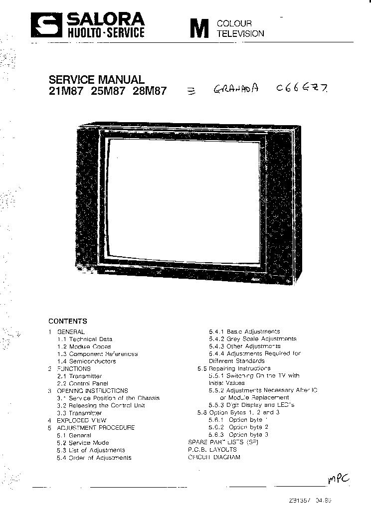 SALORA M CHASSIS TV Service Manual download, schematics