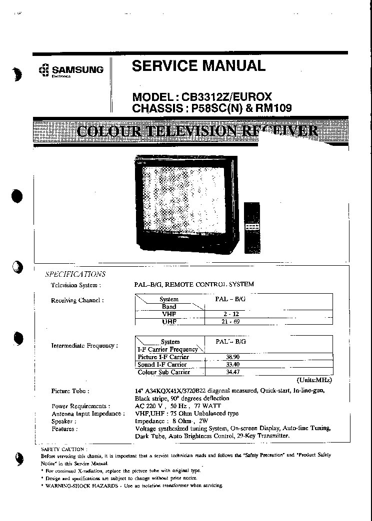 SAMSUNG CB3312Z CH P58SC Service Manual download