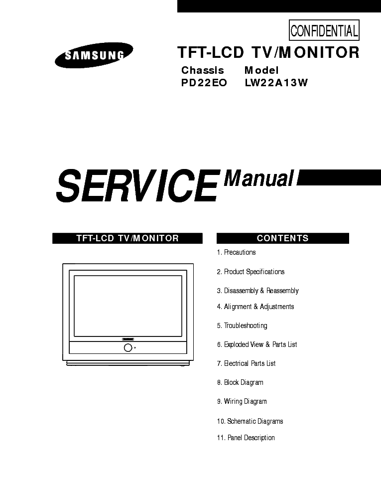 SAMSUNG LW22A13W CHASSIS PD22EO SM Service Manual download