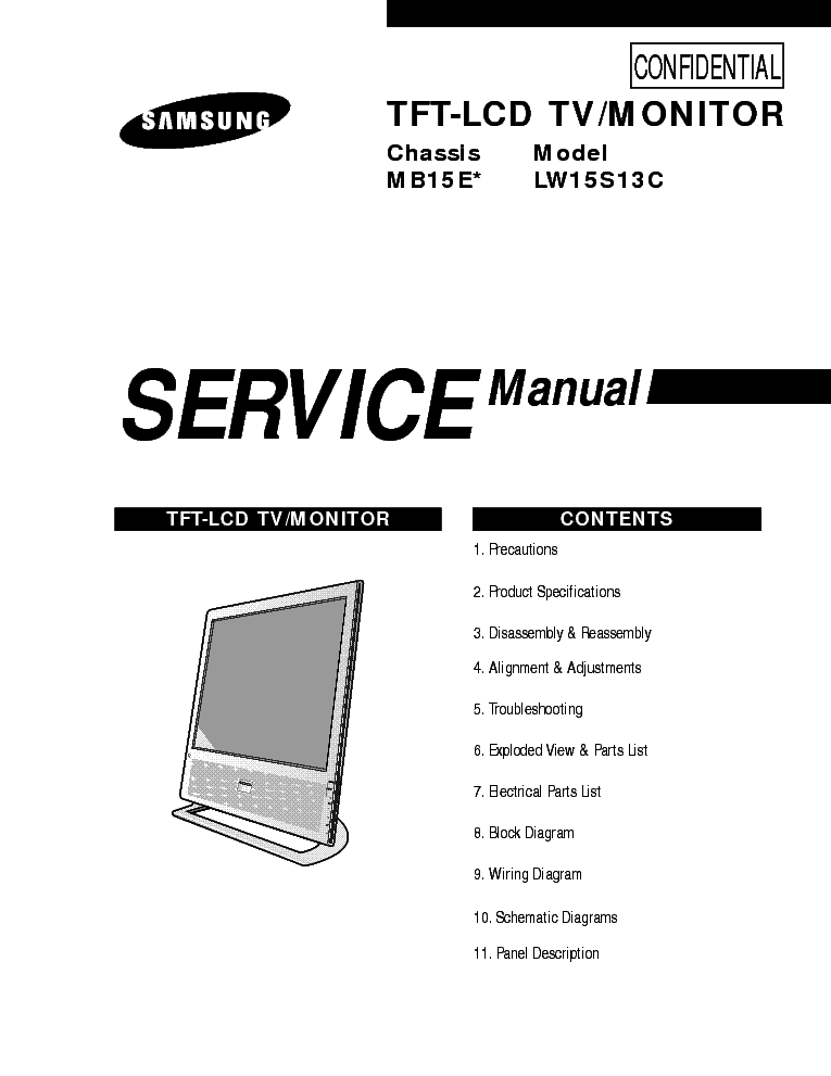 SAMSUNG MB15E CHASSIS LW15S13C LCD TV SM Service Manual