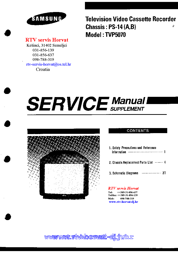 SAMSUNG PS14 CHASSIS TVP5070 TV-VCR SM Service Manual