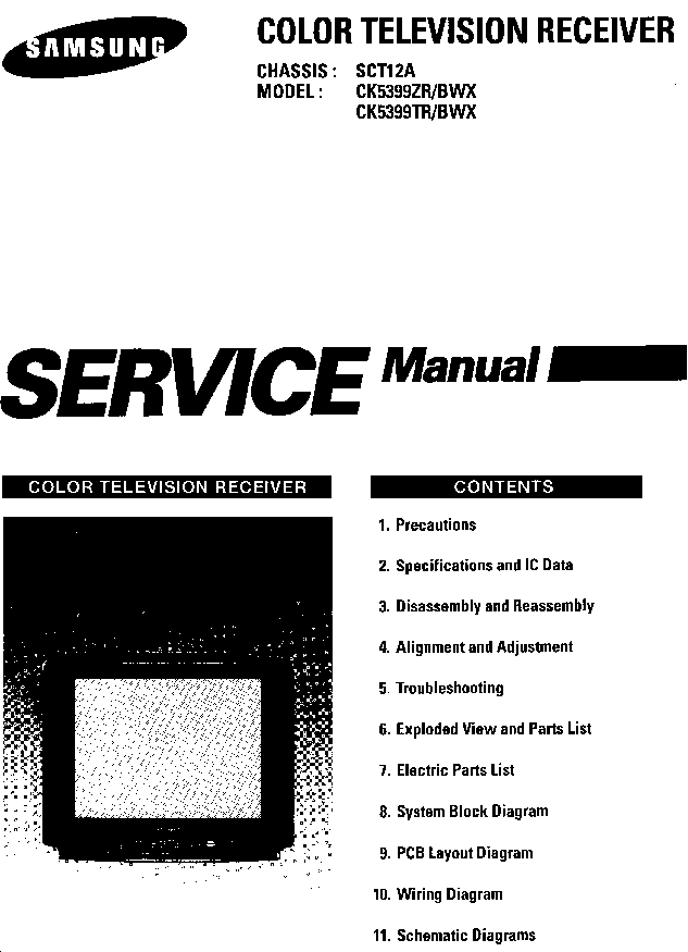 SAMSUNG SCT12A CHASSIS CK5399ZR TV SM Service Manual