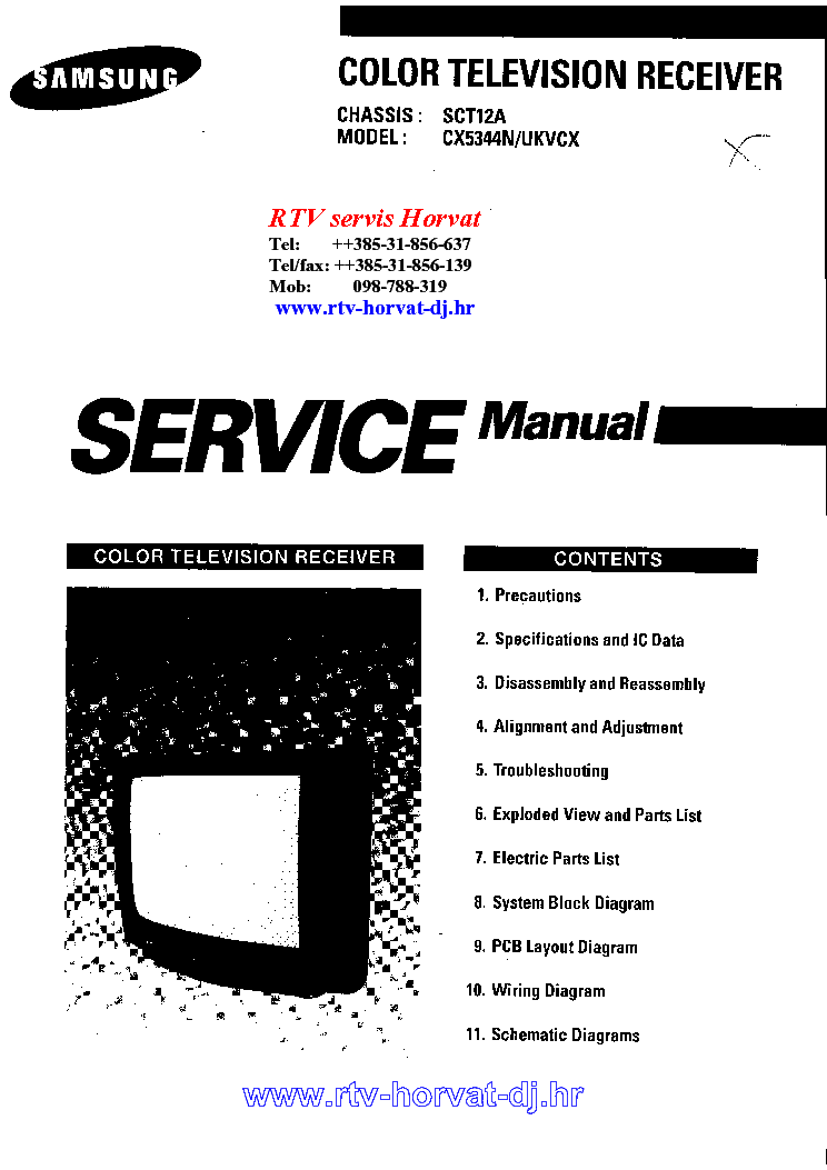 SAMSUNG SCT12A CHASSIS CX5344N TV SM Service Manual