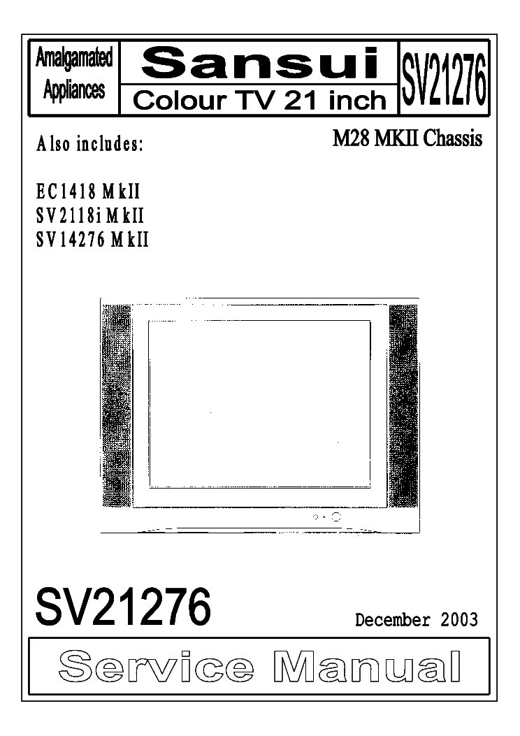 SANSUI SV21276 M28 MK2 CHASSIS Service Manual download