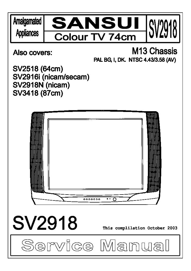 SANSUI SV2918 SV2518 SV2916I SV2918N SV3418 CHASSIS M13 SM
