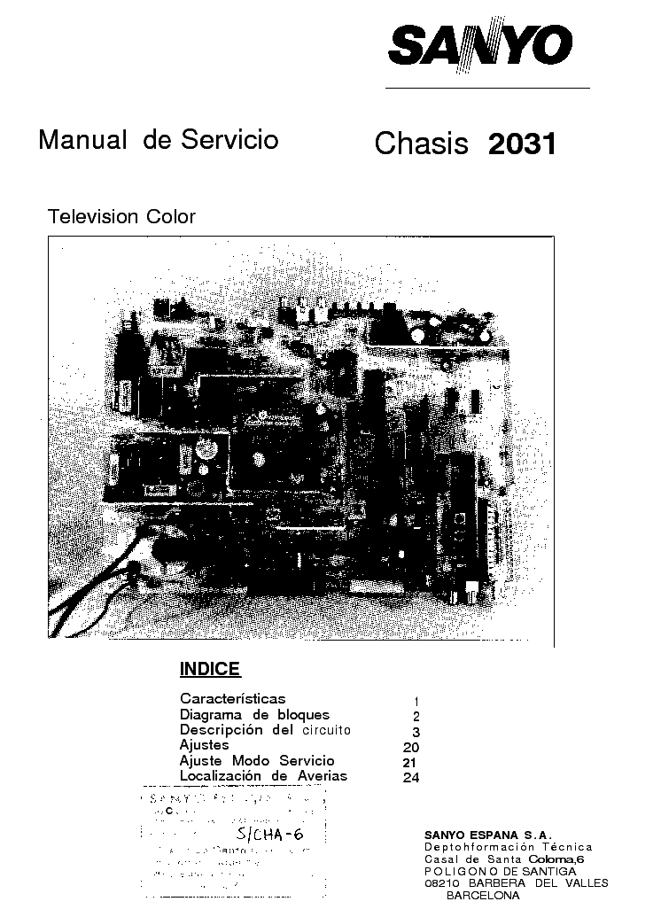 SANYO 2031 CHASSIS Service Manual download, schematics